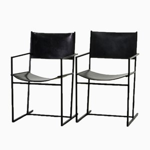 Dutch Black AG-6 Leather and Metal Dining Chairs by Albert Geertjes, 1984, Set of 2