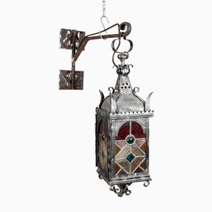 Art Nouveau German Wrought Iron Entrance Lantern, 1910s