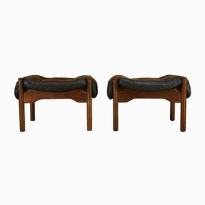 Leather & Teak Footstools by Guy Rogers, 1970s, Set of 2