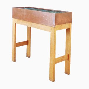 Vintage Ãœbertopf aus Holz & Zink