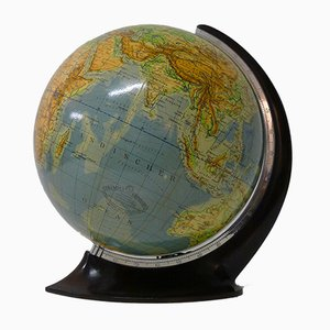 Art Deco Topographic Glass Globe from Columbus Oestergaard