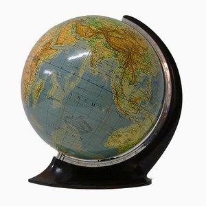 Globo topografico Art Déco in vetro di Columbus Oestergaard