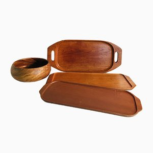 Vintage Teak Trays & Bowl, 1970s