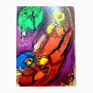 Litografia colorata raffigurante un episodio della Bibbia di Marc Chagall per Atelier Mourlot, 1956