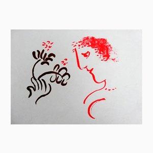 Litografía Man With Flowers de Marc Chagall, 1972