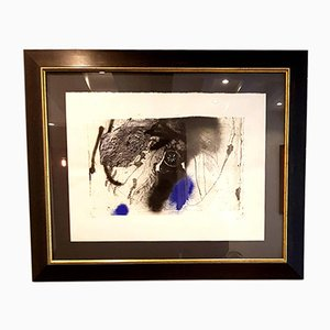 Blue Abstract Composition Lithograph by Antoni Clavé, 1940s