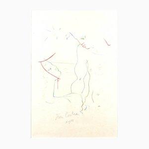 Unter der Sonne von Menton Lithographie von Jean Cocteau, 1958