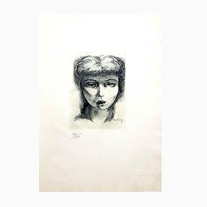 Gravure à l'Eau-Forte de Femme par Moise Kisling, 1940s