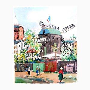 Pochoir Inspiré du Village de Montmartre par Maurice Utrillo, 1950s