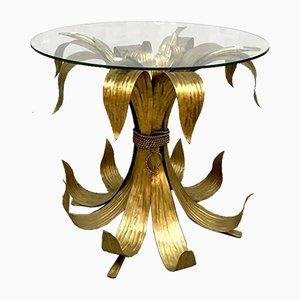 Mesa de centro italiana con hojas doradas, años 40