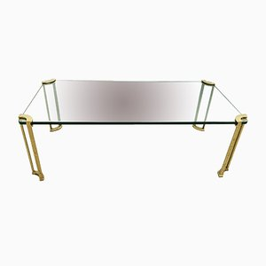 Table Basse en Laiton & Verre, 1980s