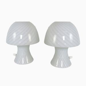 Italian Murano Glass Mushroom Lamps, 1970s, Set of 2