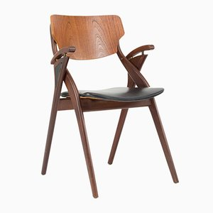 Danish Chair in Palissander & Leather by Arne Hovmand Olsen for Mogens Kold, 1950s