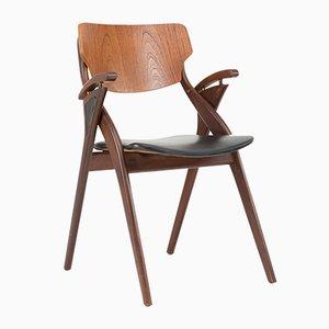 Sedia in palissandro e pelle di Arne Hovmand Olsen per Mogens Kold, Danimarca, anni '50