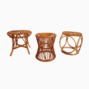 Vintage Rattan Stools from Pierantonio Bonacina, Set of 3