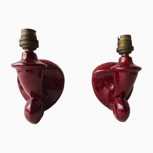 Red Ceramic Sconces, 1950s, Set of 2