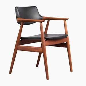 Dänischer Stuhl aus Teak & Leder von Erik Kirkegaard für Høng, 1950er