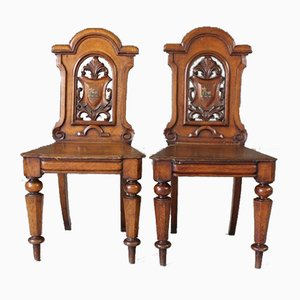 Victorian Oak Side Chairs, Set of 2
