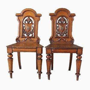 Viktorianische Beistellstühle aus Eiche, 2er Set
