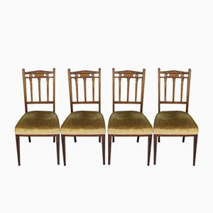 Edwardian Inlaid Rosewood Side Chairs, Set of 4