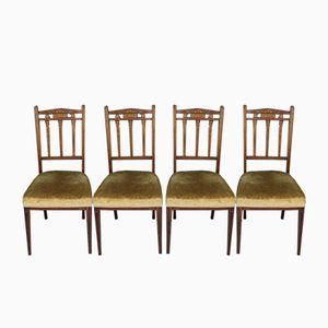 Edwardianische Beistellstühle mit Palisander-Intarsien, 4er Set