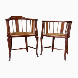 Antike edwardianische Tub Chairs, 2er Set