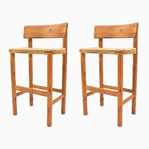 Scandinavian Wooden Bar Stools, 1960s, Set of 2