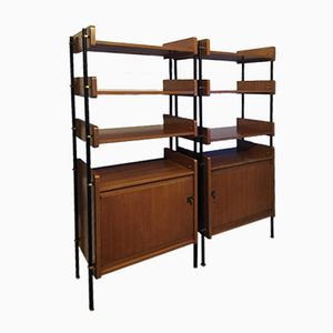 Modular Wall Bookcases by Pierre et Camile David for Polymeubles, 1950s, Set of 2
