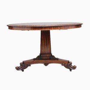 Mesa de centro británica antigua de madera de zebrano