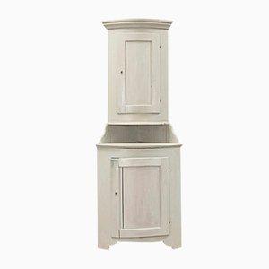 19th-Century Grey Corner Cabinet