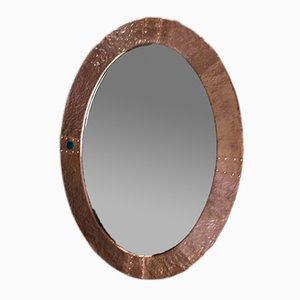 Specchio ovale antico Arts and Crafts in rame