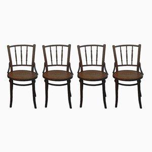 Sedie da bistrò con disegni sulle sedute, 1920, set di 4