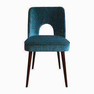 Mid-Century Blue Velvet Side Chair by Leśniewski for Slupskie Fabryki Mebli, 1960s