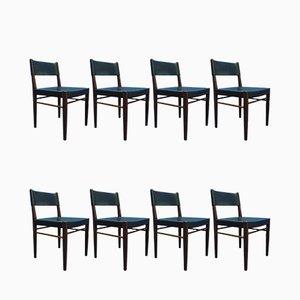 Modell 3024 Stühle aus Teak & Leder von Helmut Magg für WK Möbel, 1950er, 8er Set