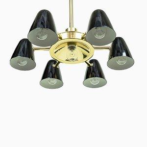 Lampadario vintage nero in alluminio e ottone, anni '50
