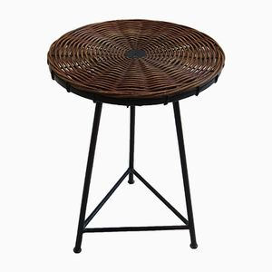 Small Vintage Rattan and Metal Table by Guy Raoul