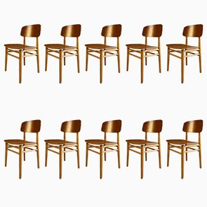 Model 4101 Teak Dining Chairs by Hans Wegner for Fritz Hansen, 1950s, Set of 10