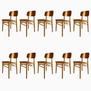 Modell 4101 Esszimmerstühle aus Teak von Hans Wegner für Fritz Hansen, 1950er, 10er Set