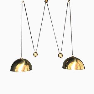 German Mid-Century Brass Double Pendant Lamp by Florian Schulz, 1970s