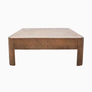 Tavolino da salotto quadrato brutalista con effetto bronzo, anni '60