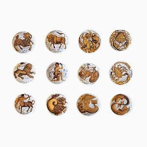 Piatti Zodiac vintage in porcellana di Piero Fornasetti per Corisia, set di 12
