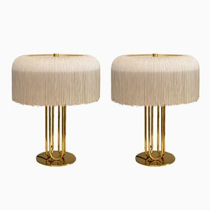 Brass and Silk Table Lamps by Hans-Agne Jakobsson, 1950s, Set of 2