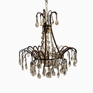 Lámpara de araña vintage con cuentas de cristal
