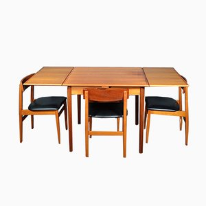 Mid-Century Danish Extending Teak Table and 4 Chairs