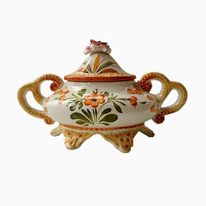 Italian Soup Tureen with Floral Motif from Bassano, 1950s