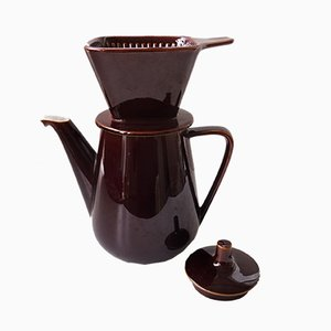 Chocolate Brown Ceramic Coffee Pot with Filter from Villeroy & Boch, 1960s