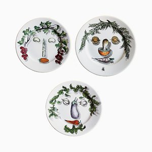 Arcimboldo Vegetable Plates by Piero Fornasetti, 1950s, Set of 3