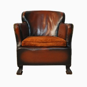 Vintage Leather Club Chair, 1920s