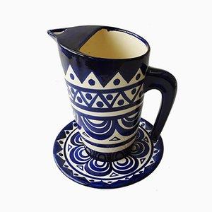 Jarra de cerámica esmaltada con platillo de St. Jean de Bretagne, años 40