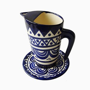 Kanne und Untertasse aus glasierter Keramik von St. Jean de Bretagne, 1950er